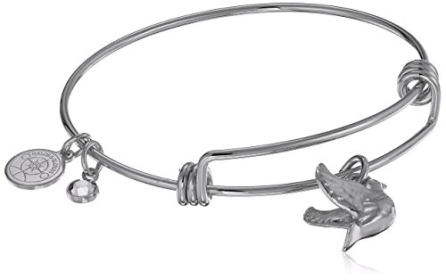 Halos & Glories, Dove Charm Shiny Silver Bangle Bracelet