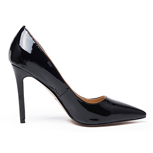 Darco Gianni Damen Pumps Stiletto Hoher Absatz Frauen Hochzeit Party Abend Schuhe High Heel Spitze Lackleder Schwarz Lackleder