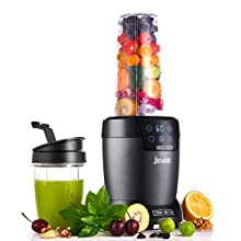 Smoothie Blender - 1200W Bullet Blender for Shakes and Smoothies - Touch Screen with Programmable Digital Timer Countertop Blender - 18 and 35 Oz On The Go Blender Cups with To-Go Lids