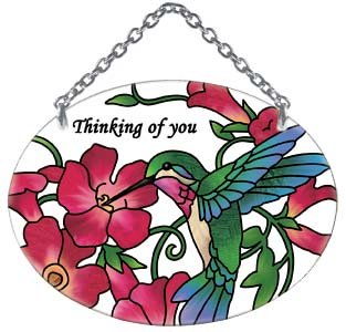 (Joan Baker Designs Hummingbird and Red Trumpet Flower Thinking of You Oval Stained Glass Suncatcher (SO200R) )