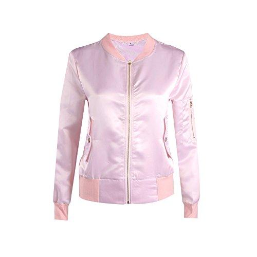 Manteaux Hiver Casual Veste Classique Vintage Aviateur Blouson Monissy Fashion Femme Rose Automne FUxqYY