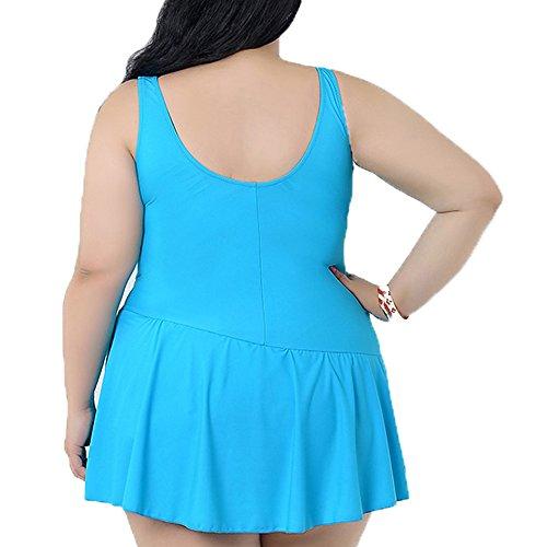 Primavera de fiebre de la mujer color sólido volantes acolchado Swimdress elegante Monokinis azul celeste