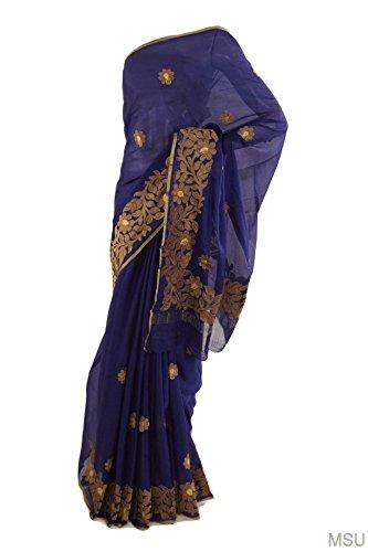 Mysore Saree Udyog Women's Formal Wear Silk Machine Embroidery Thread Work Saree with Blouse Blue Indigo
