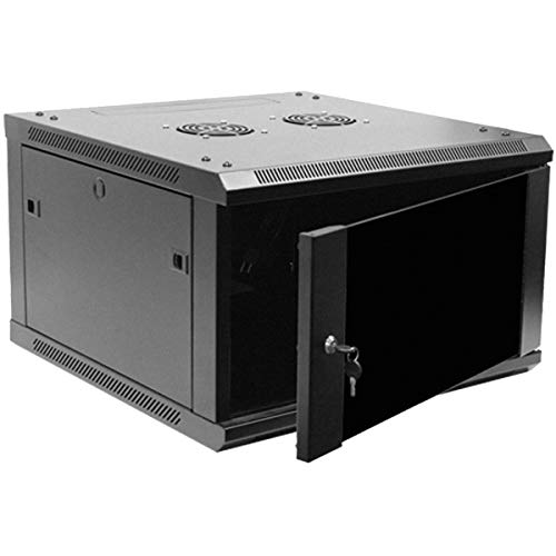 Deluxe Door - Navepoint 6U Deluxe IT Wallmount Cabinet Enclosure 19-Inch Server Network Rack With Locking Glass Door 24-Inches Deep Black