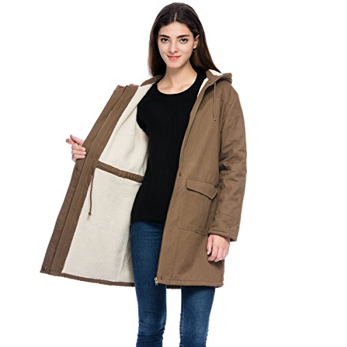Cotton Women Coat (Lacle Women's Long Quilted Coat Khaki Casual Parkas with Hood (Khaki Large))