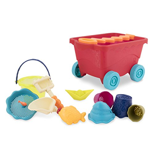 B. toys - Wavy-Wagon - Travel Beach Buggy (Red) with 11 Funky Sand Toys - Phthalates and BPA Free - 18 m+