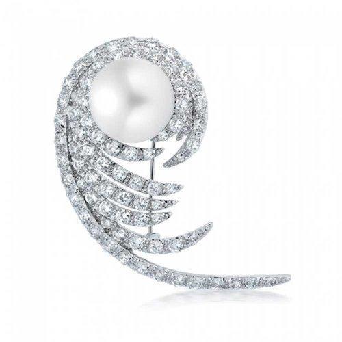 Bling Jewelry CZ Fern Swirl Leaf Created Pearl Bridal Pin Rhodium (Fern Swirl)