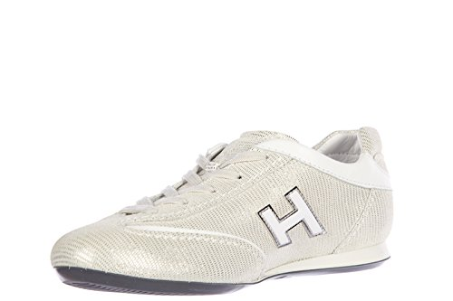 Hogan scarpe sneakers donna in pelle nuove olympia h flock bianco