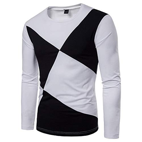 Hot Sale Men's Casual Long Sleeve T Shirt - vermers Mens Fashion Patchwork Slim Pullover Top Blouse(L, White) by vermers
