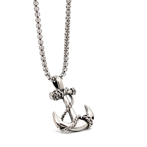 Lemu Jewelry Men's Nautical Anchor Necklace Stainless Steel Pirate Pendant Necklaces with 24 inch Chain ()