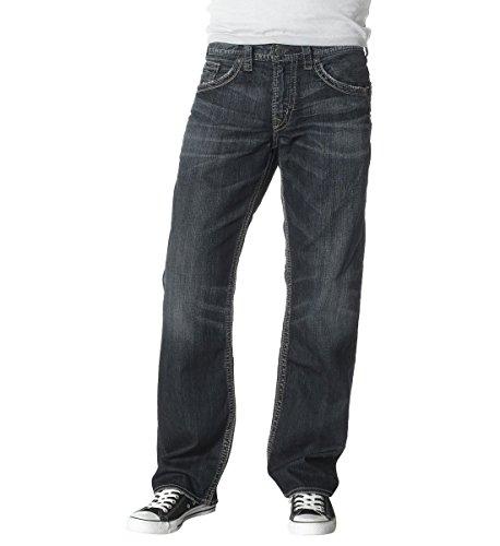 Silver Jeans Co. Men's Gordie Loose Fit Straight Leg Jeans,Dark Sandblast,34x32 - Loose Fit Straight Jeans