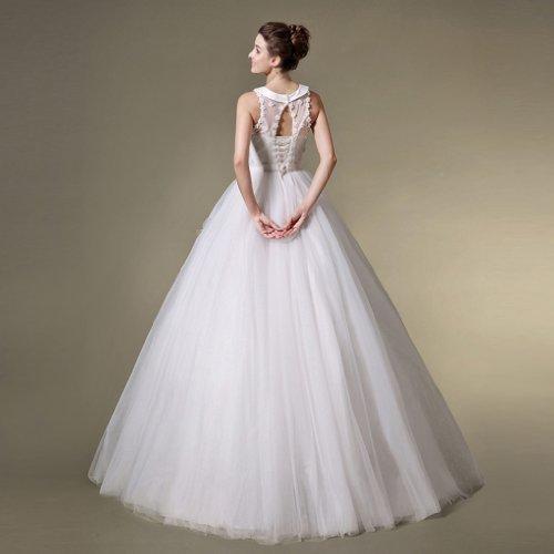 Tuell A Damen Blumen U Linie Mit Bodenlang Kristall Kleidungen Dearta Brautkleider Schleife Weiß Ausschnitt Prinzessin SAZxqaTa