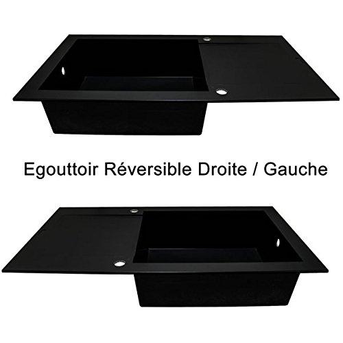 Autre Evier de cuisine reversible Noir /à encaster 1 bac XL en Min/érale Composite Vidage automatique