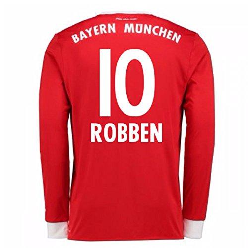 (2017-18 Bayern Munich Home Long Sleeve Football Soccer T-Shirt Jersey (Arjen Robben 10))