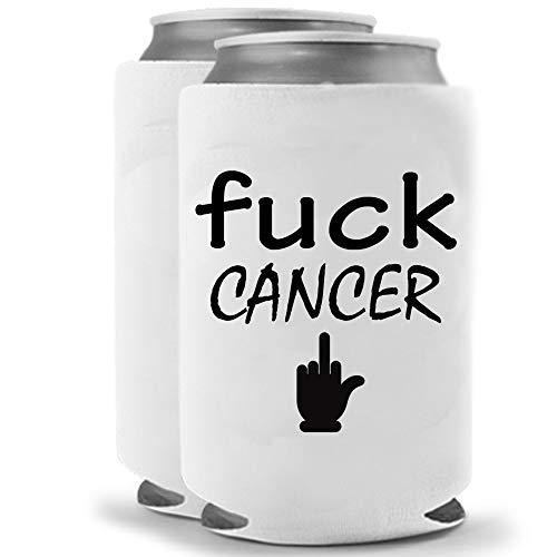 Fuck Cancer   Funny Novelty Can Cooler Coolie Huggie - Set of two (2)   Beer Beverage Holder - Beer Gifts Home - Quality Neoprene No Fade Can Cooler