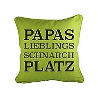 Klebefieber Dekokissen Papas Lieblings Schnarchplatz B x H: 40cm x 40cm Farbe: weiß