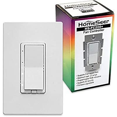 HomeSeer HS-FC200+ Z-Wave Plus Scene-Capable RGB Smart Fan Speed Controller Switch | Built-in Repeater Range Extender | Works with Alexa, Google Home & IFTTT (Hub Required) | Works With SmartThings