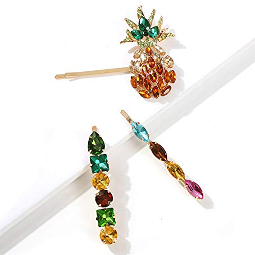Starlit 3Pcs Women Colorful Faux Gemstone Inlay Pineapple Hairpins Hair Clips Headwear