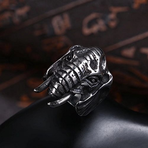 FENDINA Fashion Biker Punk Band Large Stainless Steel Animal Head Elephant Ring Size 8 to 12