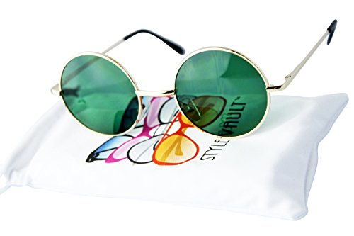 W231 Style Vault 1 7/8'' Lens (47mm Lens) metal round Hipster sunglasses (C085 Gold-green, UV400) by Style Vault