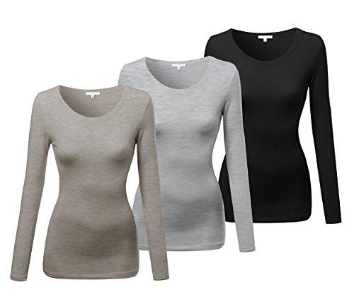 Emmalise Women's Basic Athletic Fit Tshirt Long Sleeves Round Crew Neck Tee (3Pk Oatmeal, HTH Gray, Black, Medium) ()
