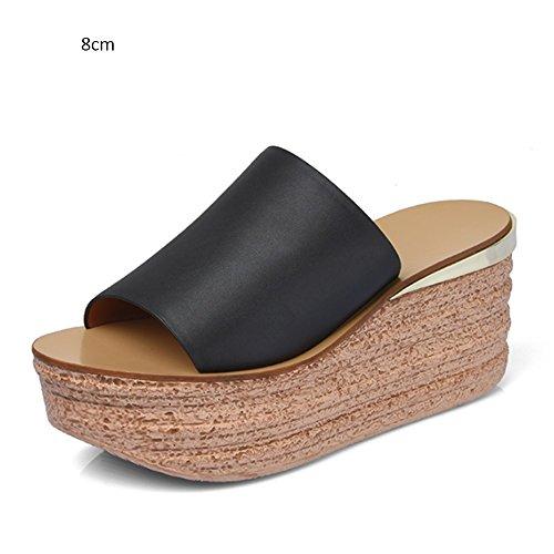 Pistas de del femenino la femeninas verano parte alto zapatillas las del verano 8cm 2 Zapatillas del de opcionales gruesas con femenino Cómodo talón inferior sandalias colores las plana antideslizante dZYnda
