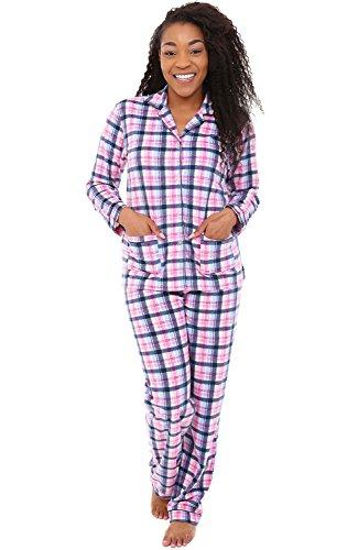 Alexander Del Rossa Womens Plaid Fleece Pajamas, Long Button Down Pj Set