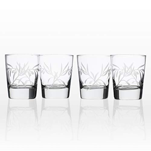 Rolf Glass Etched Olive Branch Double Old Fashioned Glass (Set of 4), 13 oz, Clear