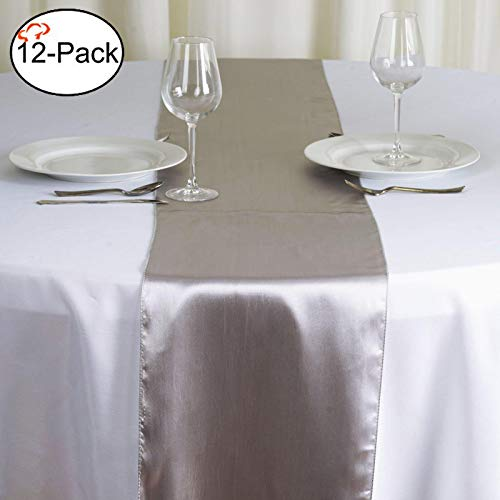 Tiger Chef 12-Pack Silver 12 x 108 inches Long Satin Table Runner for Wedding, Table Runners fit Rectange and Round Table Decorations for Birthday Parties, Banquets, Graduations, Engagements (Best Wedding Table Decorations)