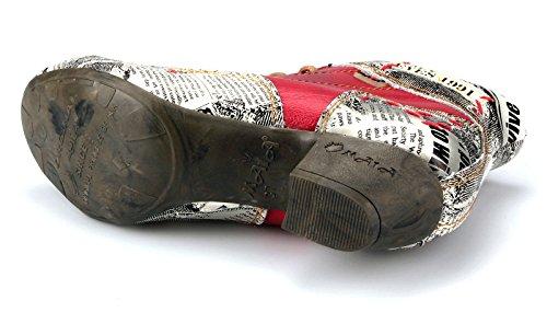 TMA Damen Stiefeletten Leder Damenschuhe Boots Schuhe 7616 Rot