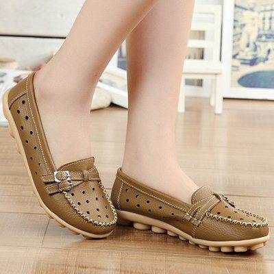 NGRDX&G Mujer De Cuero Pu Calzado Casual Zapatos Planos Hebilla Transpirable Zapatos Cómodos Zapatos Planos Zapatos De Cuero Suave Khaki