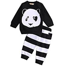 Baby Boys Cartoon Panda Long-Sleeved T-Shirt+ Striped Pants Kids Clothes Set