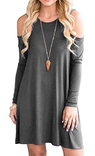 Tunic Long Dress Sleeve (QIXING Women's Casual Plain Simple Pocket T-Shirt Dress Long Sleeve Cold Shoulder Tunic Dresses Dark Grey-L)