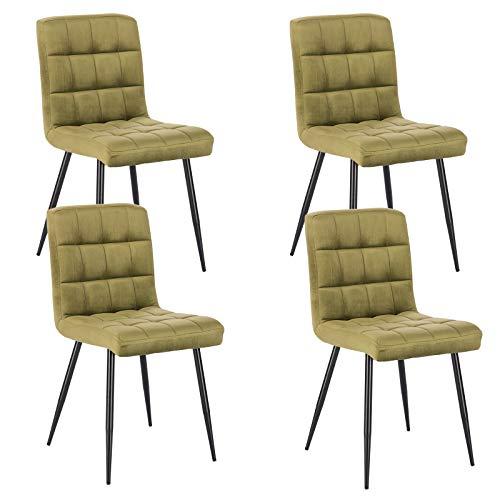 Lestarain 4X Sillas de Comedor Silla de Salon Dining Chairs Tapizadas Sillas de Cocina Nordicas Asiento de Terciopelo Silla Bar Metal Silla de Oficina Verde Oscuro
