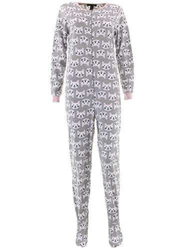 Rene Rofe Women's Cats Gray Footed Pajamas M