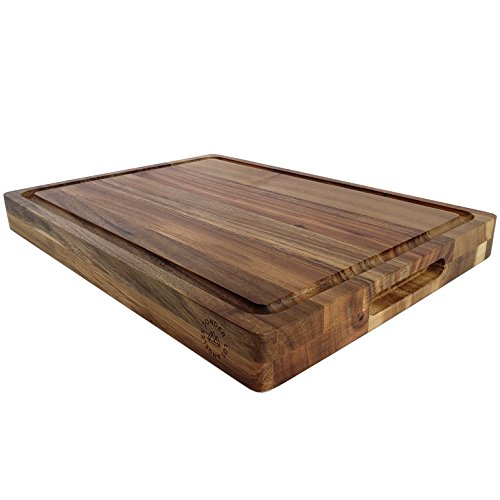 Large Reversible Multipurpose Thick Acacia Wood Cutting Board: 16x12x1.5 Juice Groove & Cracker Holder by Sonder LA (Gift Box (Dark Wood Cutting Board)