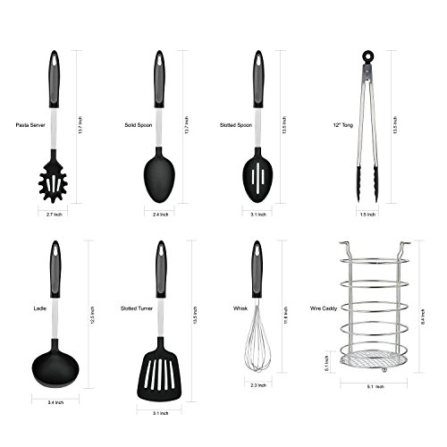8Pc Kitchen Cooking Tool Set -Ladle Pasta Server Slotted Turner Solid Spoons Whisk Tong-Caddy Black -  LavoHome