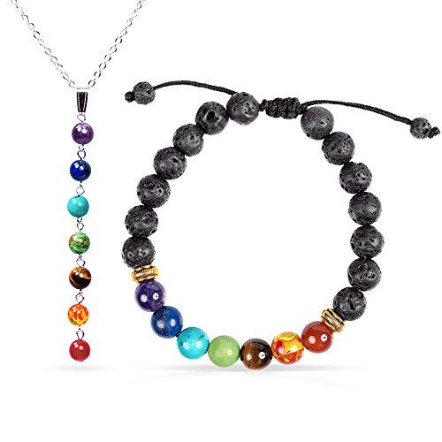 Jewelry Yoga Adjustable 7 Chakra Bracelet + 7 Chakra Necklace Set for Women, Girlfriend, Wife, Coworker, or Friend - Reiki Chakra Healing Energy ()