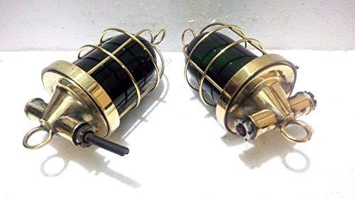 (Marine Antique Rare Original Vintage Brass Passage Green Light 1 Set)