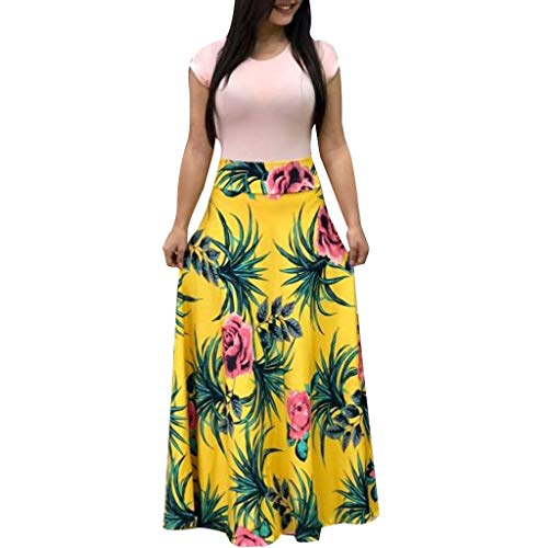BODOAO Women Summer Short Sleeve Floral Printed Sundress Casual Swing Dress Maxi Dress