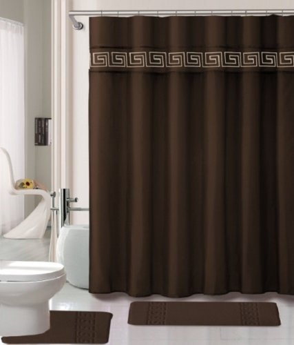 Amazon.com: 19 Piece Bath Accessory Set Coffee Brown Soft Memory Foam  Bathroom Rug Contour Mat + Shower Curtain U0026 Ceramic Accessories: Home U0026  Kitchen