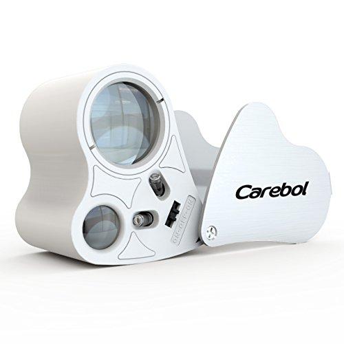 Educational Magnifier (Carebol 30x 60x Illuminated Jewelers Eye Loupe LED Lighting Pocket Magnifier silver white)