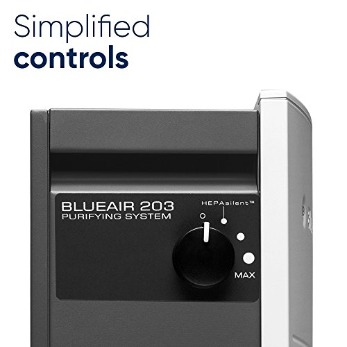 Blueair Classic 203 Slim HEPASilent Air Purification System, Allergy, Hay Fever and Dust Reducer, Small Rooms 237 sq. ft., White