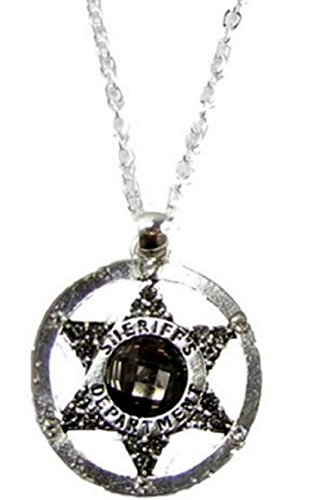 Necklace Circular Pewter (SHERIFF Necklace with Gray Multifaceted Crystal in the Center of Star. Sheriff Department is Engraved on the Circle.18 inch Necklace is Gift Boxed)