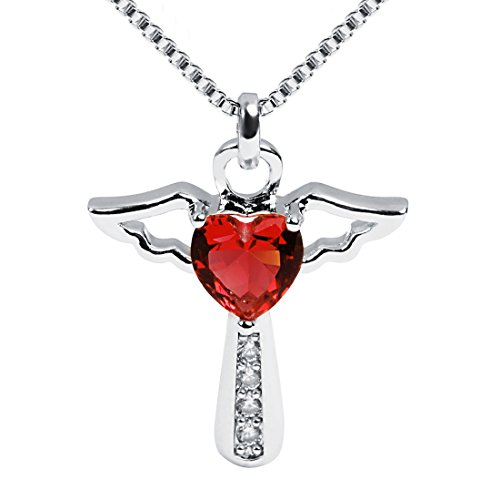 Ckysee Necklaces for Women Girls Cross Cubic Zirconia Angel Wing Birthstone Heart Charm Pendant Necklace January- Garnet