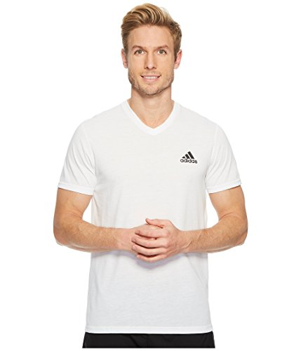 adidas Mens Training Ultimate Short Sleeve V-Neck Tee, White, Medium