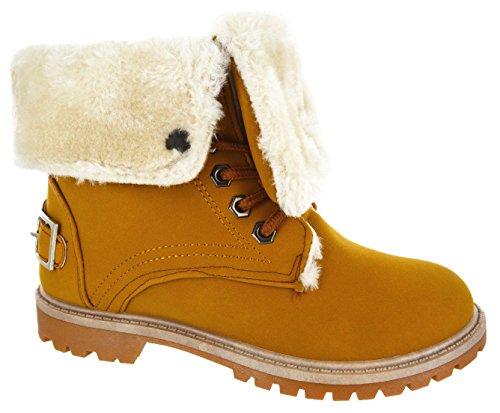 Inverno Senhoras Pilha Plana Forro De Sola De Combate Do Exército Stiefeletten Tamanho Sapatos - Camelo 2, 37
