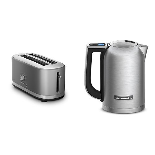 KitchenAid KMT4116CU Contour Silver 4 Slice Long Slot Toaster and KitchenAid KEK1722SX Brushed Stainless Steel 1.7-Liter Electric Kettle