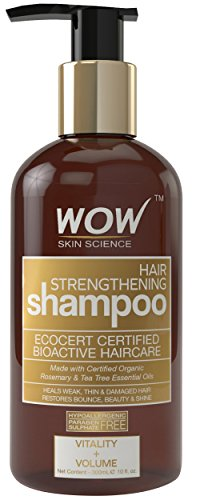 WOW Hair Strengthening Shampoo for Hair Growth and Hair Repair - Strengthening Treatment for Thin Weak Damaged Hair - Rosemary Tea Tree Moroccan Argan oil - Paraben and Sulfate Free- 10 Fl Oz