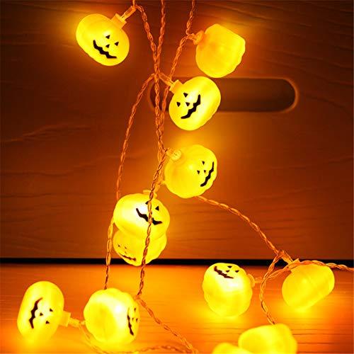 BGFHDSD 2.5M 20LED Pumpkin Skull LED String Light Hanging Halloween Lanterns 3D Plastic Skull String Holiday Decor Calabaza Luces for $<!--$24.90-->